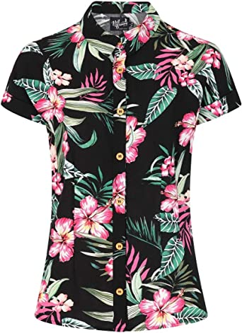 Hell Bunny Kalani Hawaii Camisa Top Pinup Vintage Retro XS-4XL
