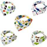 Leewin Baby Bandana Bibs 5-Pack Absorbent Cotton Cartoon Patterns with Adjustable Snap Closure for Boys & Girls Unisex Baby Shower Gifts