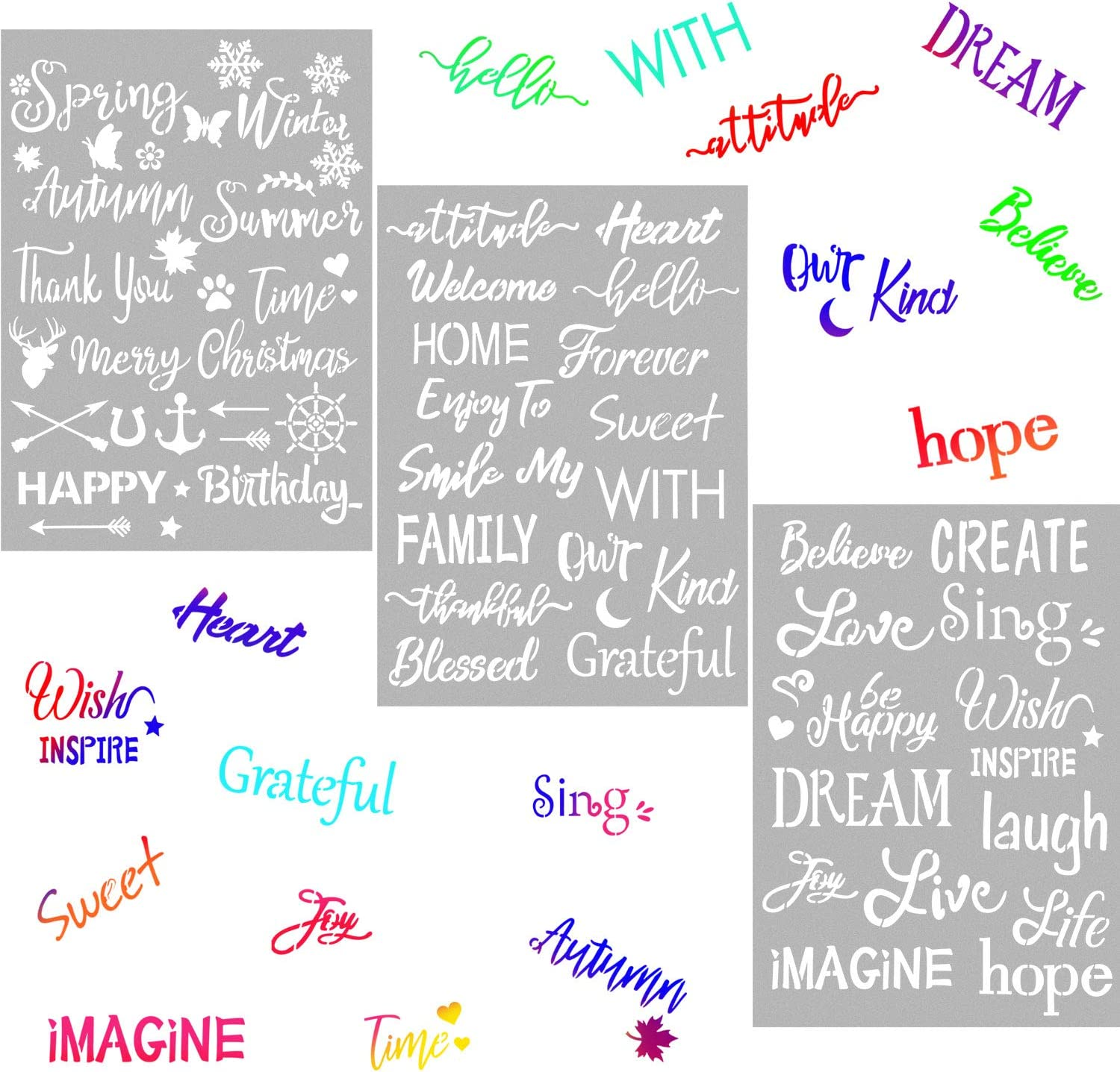 3 Pieces Plastic Painting Stencils Inspirational Word Stencils 8 x 11 Inch Reusable Stencils Template for Painting on Wood, Fabric, Paper, Wall DIY Drawing Craft
