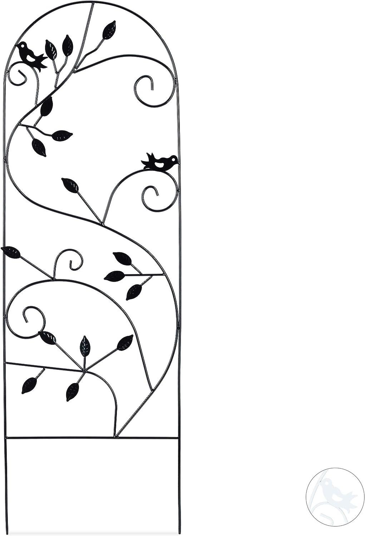 Relaxdays Enrejado metálico para jardín, Soporte para trepadoras, 120 x 40 cm, Decorado con pájaros, Negro