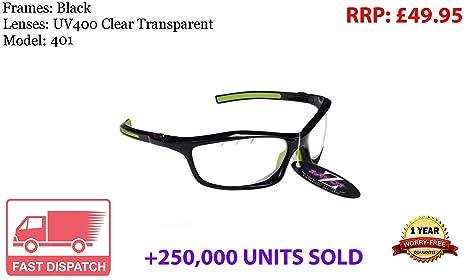 Gafas de sol para ciclismo RayZor, protección ultravioleta 400, antirreflejos, lentes transparentes con ventilación, color negro