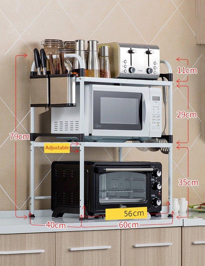電子レンジラック2層キッチンシェルフ金属調味料収納棚色オプション B07RV1KPLP