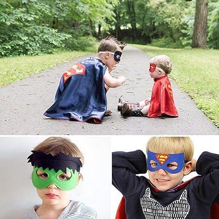 Tawcal Superhelden Masken f/ür Kinder Superheld Umhang Superheld Kost/üme Kost/üm Umh/änge und Masken Set Cosplay Party Supplies Filz Halbmasken Partyzubeh/ör Geschenk f/ür Halloween Weihnachten