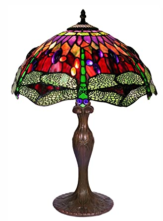 Tiffany Style Dragonfly Table Lamp, Red And Blue 27 Inch