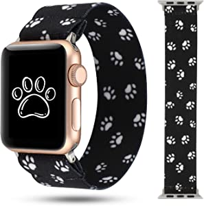 PENKEY Stretchy Band Compatible with Apple Watch Elastic Band 38mm 40mm Cute Pattern Soft Nylon Strap Replacement Wristband for iWatch Series 5/4/3/2/1 (Dog paw, 38mm/40mm Small Size)