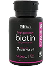 Biotin (High Potency) 10,000mcg Per Veggie Softgel; Enhanced with Coconut Oil For Better Absorption; Supports Hair Growth, Glowing Skin and Strong Nails; 120 Mini-Veggie Softgels; Made In USA.