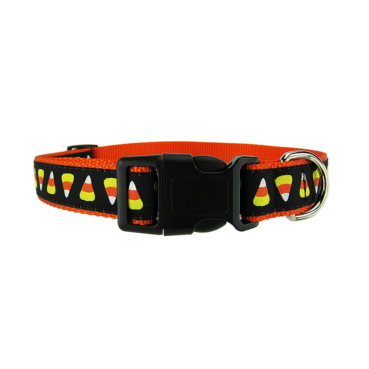 Large 18\ DOG & COMPANY Candy Corn Pattern 1  Wide Heavy Duty Adjustable Pet Collar (Large 18 -32 )