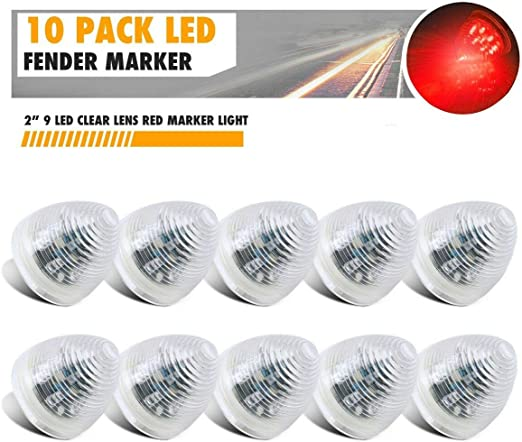 Light & Lighting Accessories 4 PCS 2 INCH Clear Red 9 LED Beehive ...