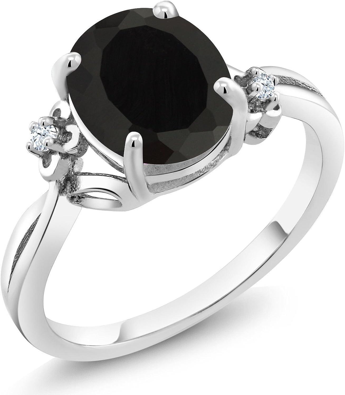 Wholesale Gem Stone King 925 Washington Mall Sterling Silver 2.53 Ring Onyx C Black Women