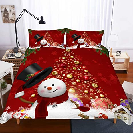 Christmas Quilted Bedspread /& Pillow Shams Set Skiing Snowman Trees Print