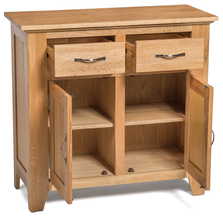 camberley oak 2 door 2 drawer small sideboard with light oak finish compact wooden storage cupboard cabinet with flexible storage amazoncouk kitchen camberley oak 2 door