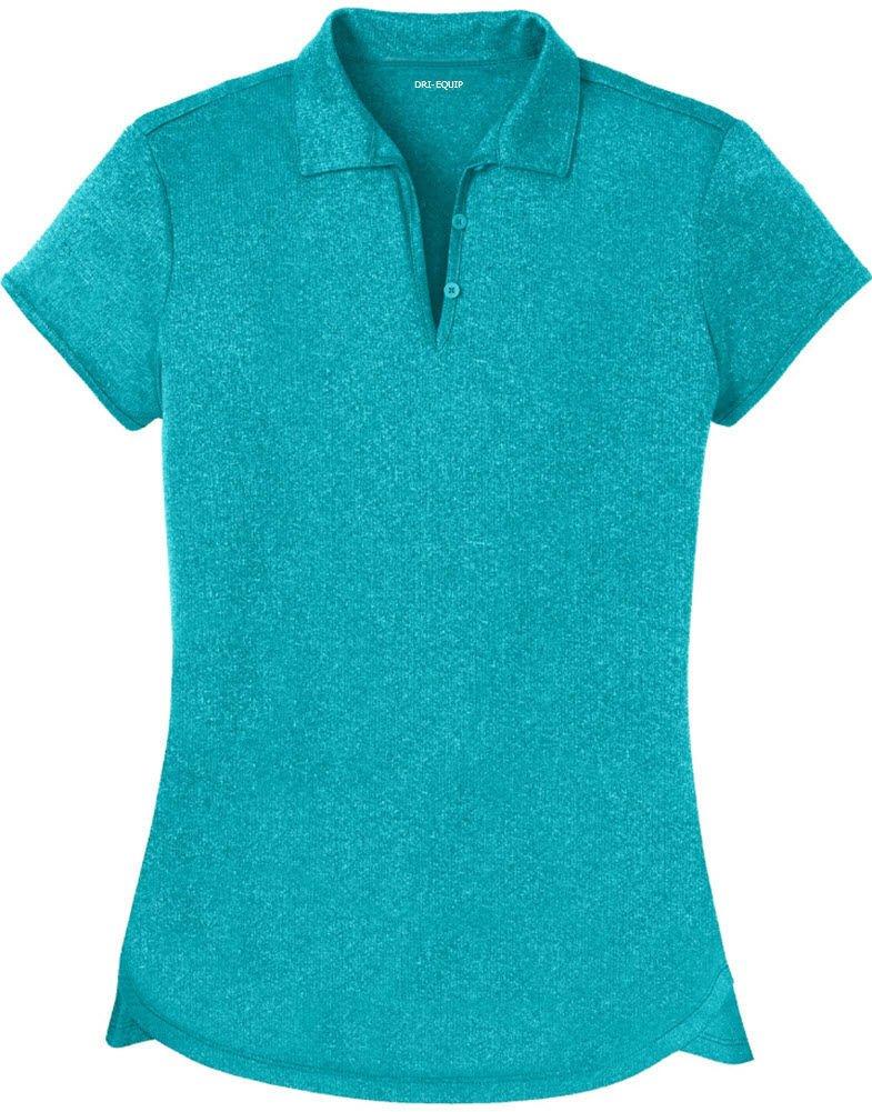 Joe's USA DRI-Equip(tm) Ladies Heathered Moisture Wicking Golf Polo-TropicBlue-S