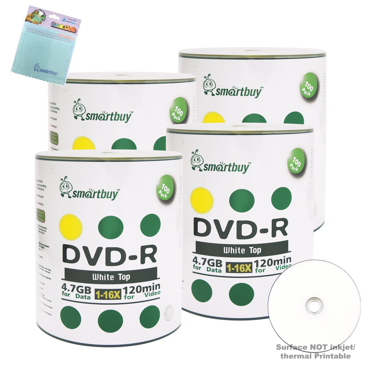 Smartbuy 400-disc 4.7GB/120min 16x DVD-R White Top Blank Media Record Disc + Free Micro Fiber Cloth
