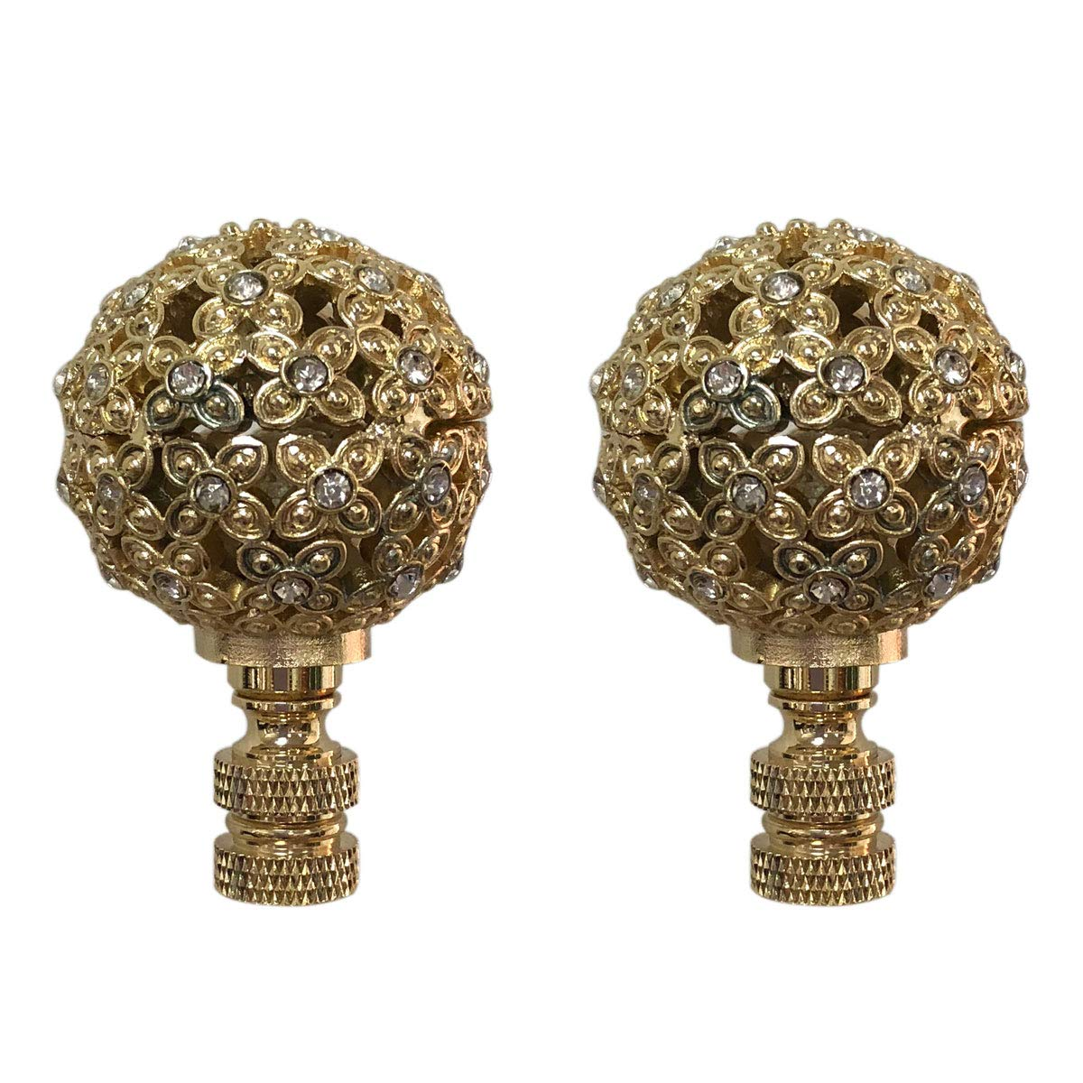 Royal Designs F-5074PB-2 Floral Motif Sphere with Crystal Accents Lamp Finial, Polished Brass, Set of 2