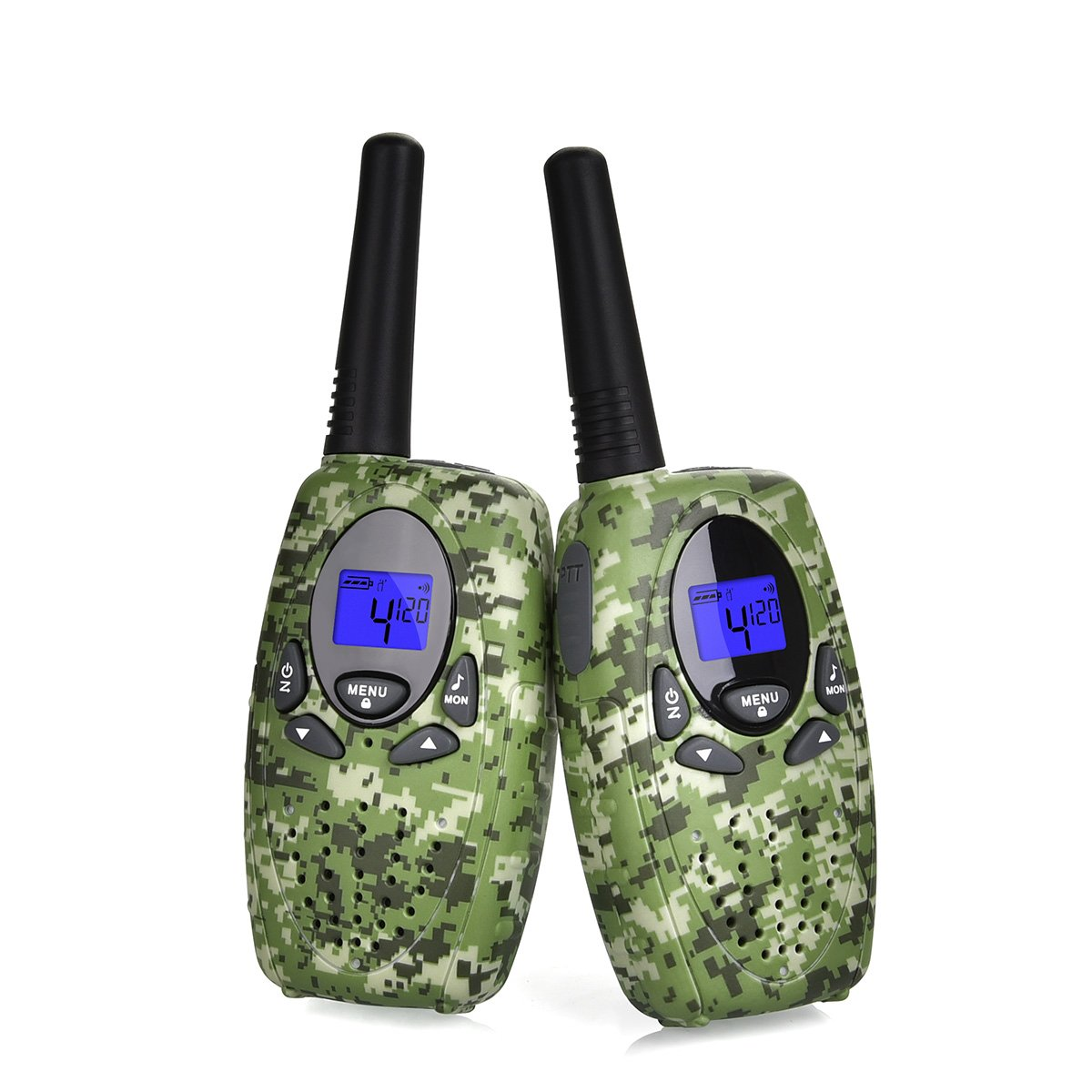 Camouflage Swiftion Handheld Kids Walkie Talkies for Boys Rechargeable 22 Channel 0.5W FRS//GMRS Walky Talky for Kids 2 Way Radios Kids walkie talkies Camouflage disruptive Pattern