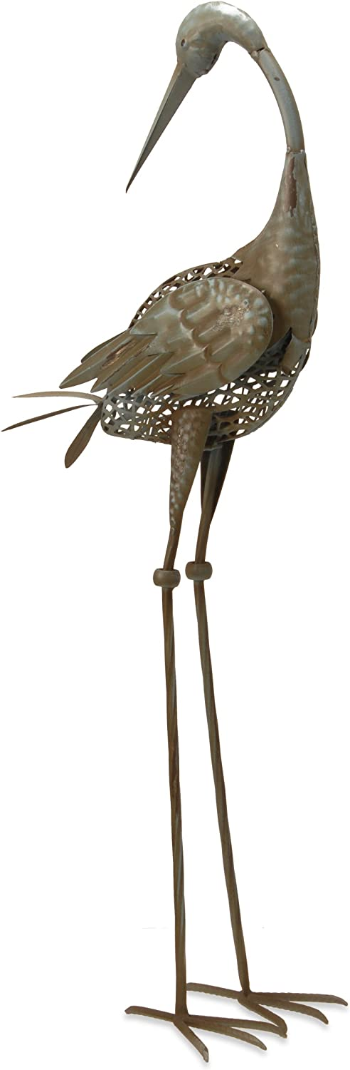 National Tree 35 Inch Garden Accents Antique Green Crane with Head Turned (GAC30-35AG-B)