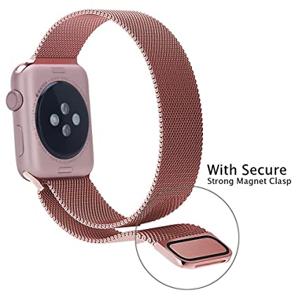 GEOTEL 42mm Milanese Loop Stainless Steel Bracelet Strap Band for Apple Watch Series 1 Series 2 Sport&Edition with Unique Magnet Lock(No Buckle Needed)(42mm-Rose Gold)