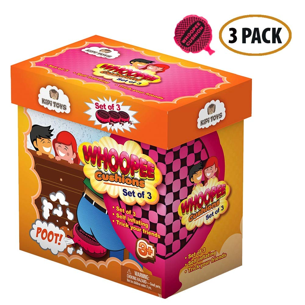 Whoopee Cushion Self Inflated 7'' Set of 3 Gift Box Fart Prank Gag Novelty Trick Joke Toy for Kids Children Adults Office Home or Party by Kipi Toys