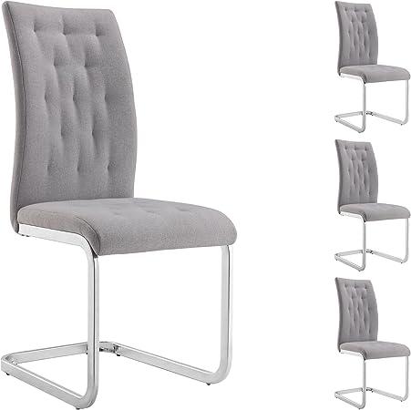 IDIMEX Lot de 4 chaises de Salle à Manger Chloe avec Assise capitonnée et piétement chromé, revêtement en Tissu Gris