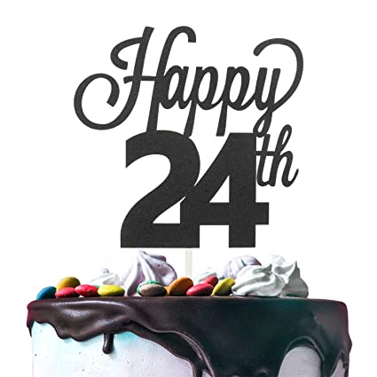 Incredible 24Th Happy Birthday Cake Topper Premium Double Sided Black Glitter Personalised Birthday Cards Veneteletsinfo