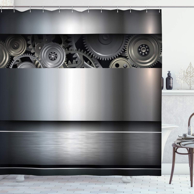 "Ambesonne Industrial Shower Curtain, Technological Gears Robotic Future Imagination Clockwork Science Modern Artwork, Cloth Fabric Bathroom Decor Set with Hooks, 75"" Long, Silver"