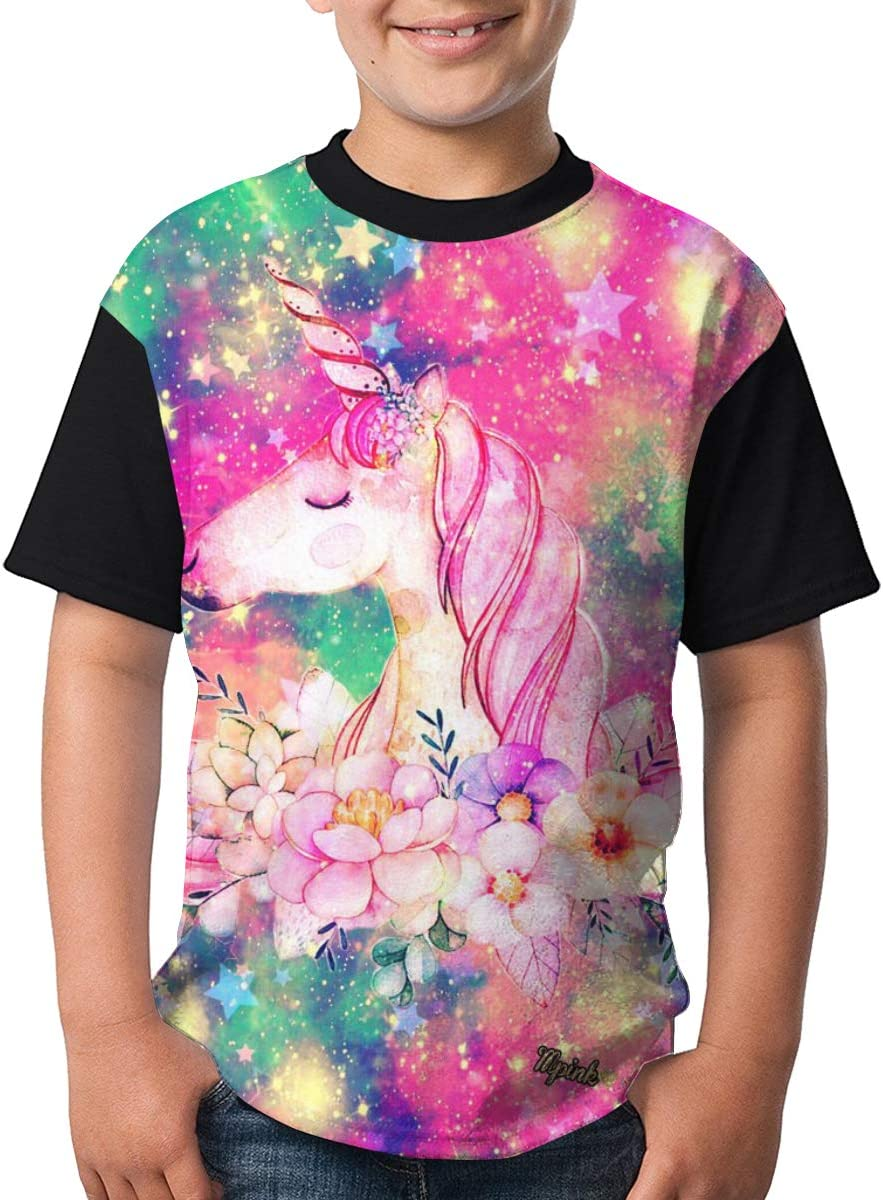 Toomny Boys Unicorn//Colorful Short Sleeve T-ShirtXS