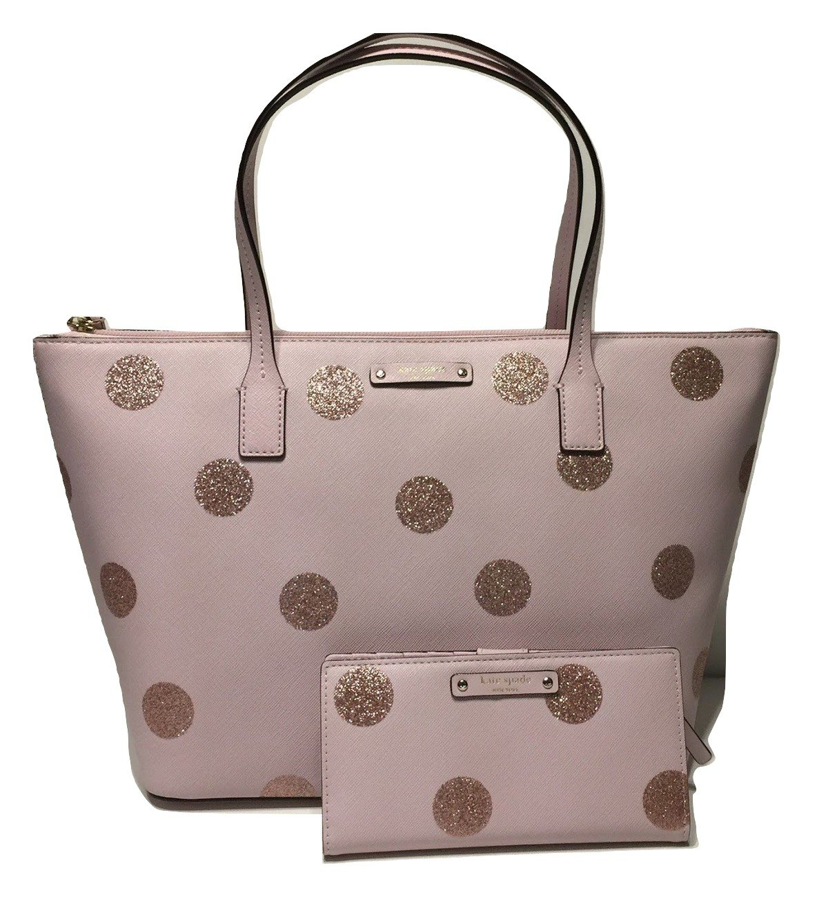 Kate Spade New York Haven Lane Hani WKRU4119 Pink Glitter Polka Dot plmdwn/dot (679) bundled with matching Stacy Wallet