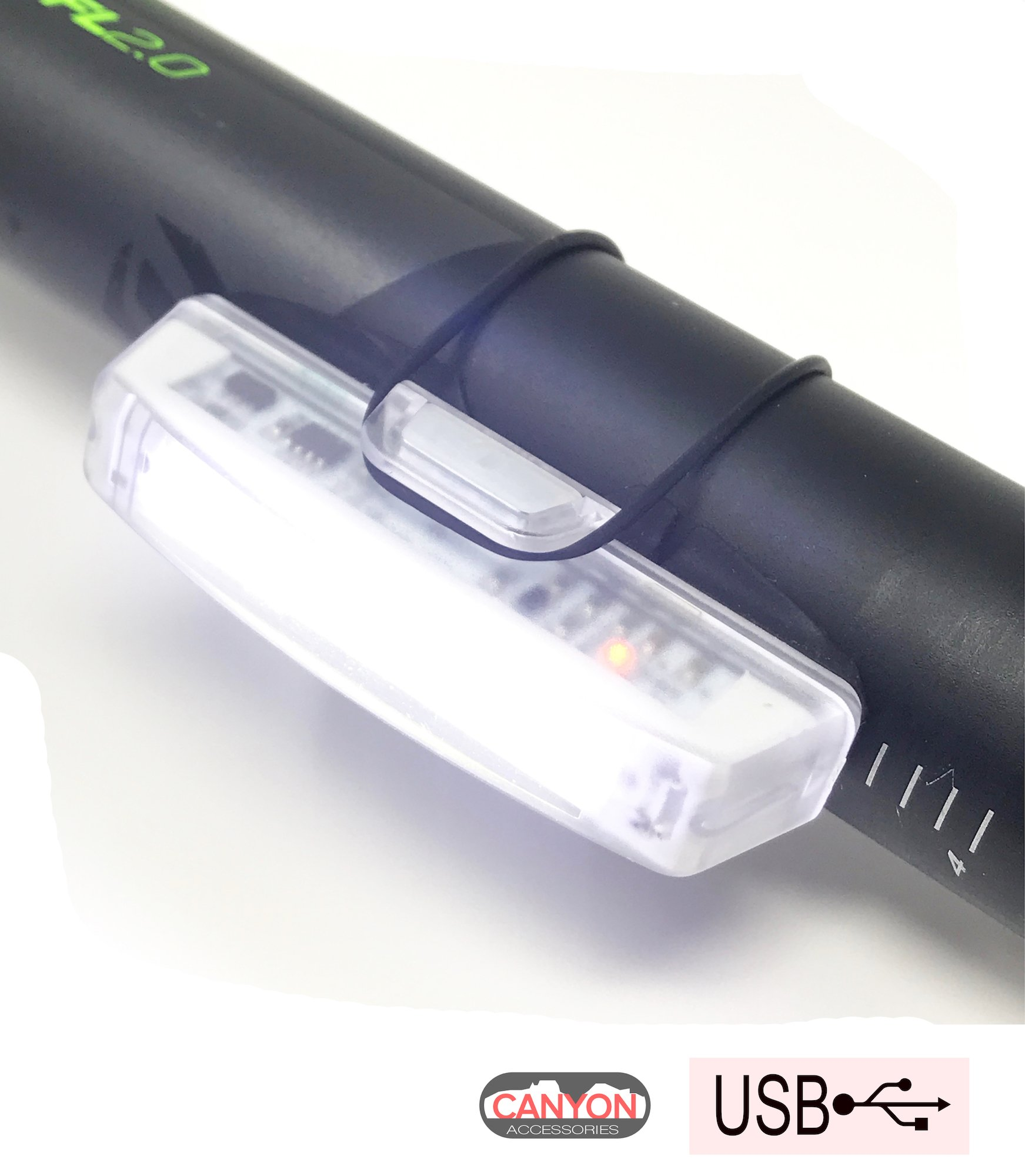 Canyon Accessories Super Bright Front Bike Light with USB Cable - Rechargeable - Fits On Any Bike or Helmets - Water Resistant IPX4-6 Light Modes Options