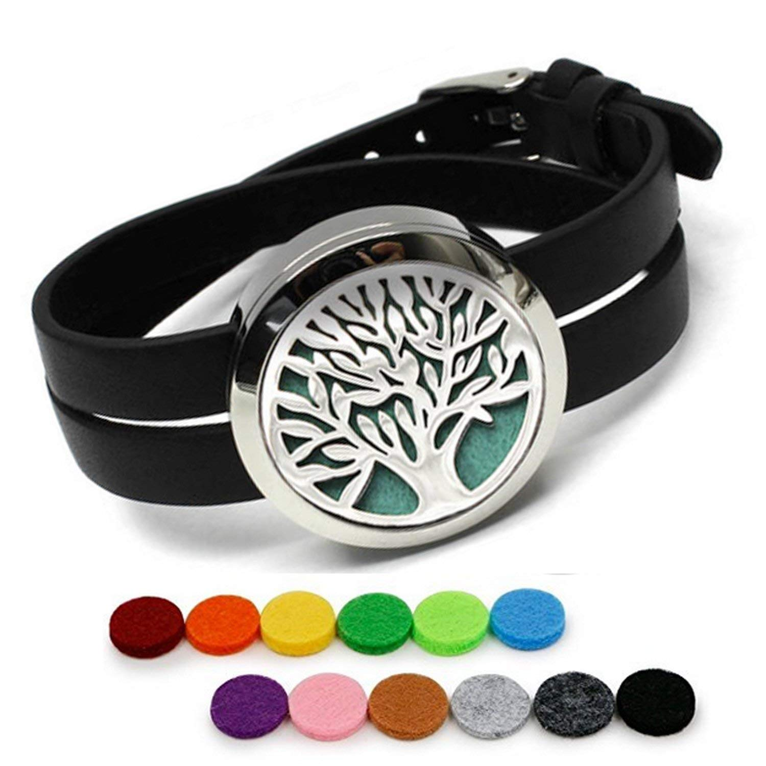 Aphaca Tree of Life Design Aromatherapy Essential Oils Diffuser Leather Band Bracelet,316L Stainless Steel Locket Batman Superman Necklace Pendan with 10 Color Pads for Girls, Wemen JY-2