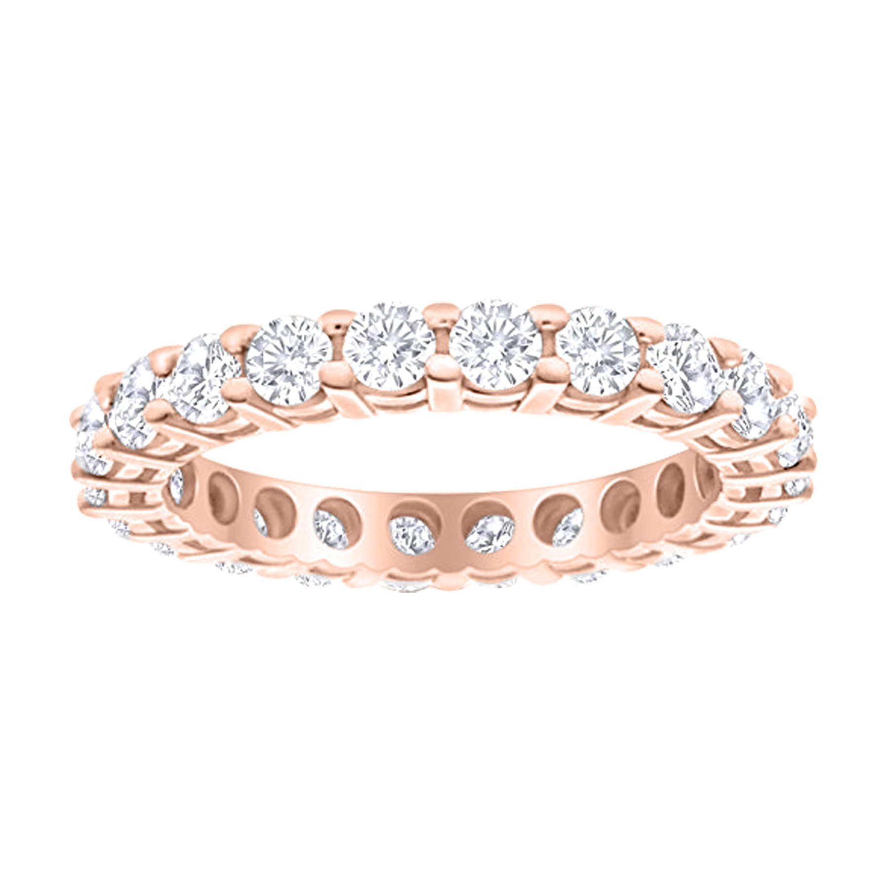 2 Carat (ctw) 14K Rose Gold Round Diamond Ladies Eternity Wedding Anniversary Stackable Ring Band Value Collection