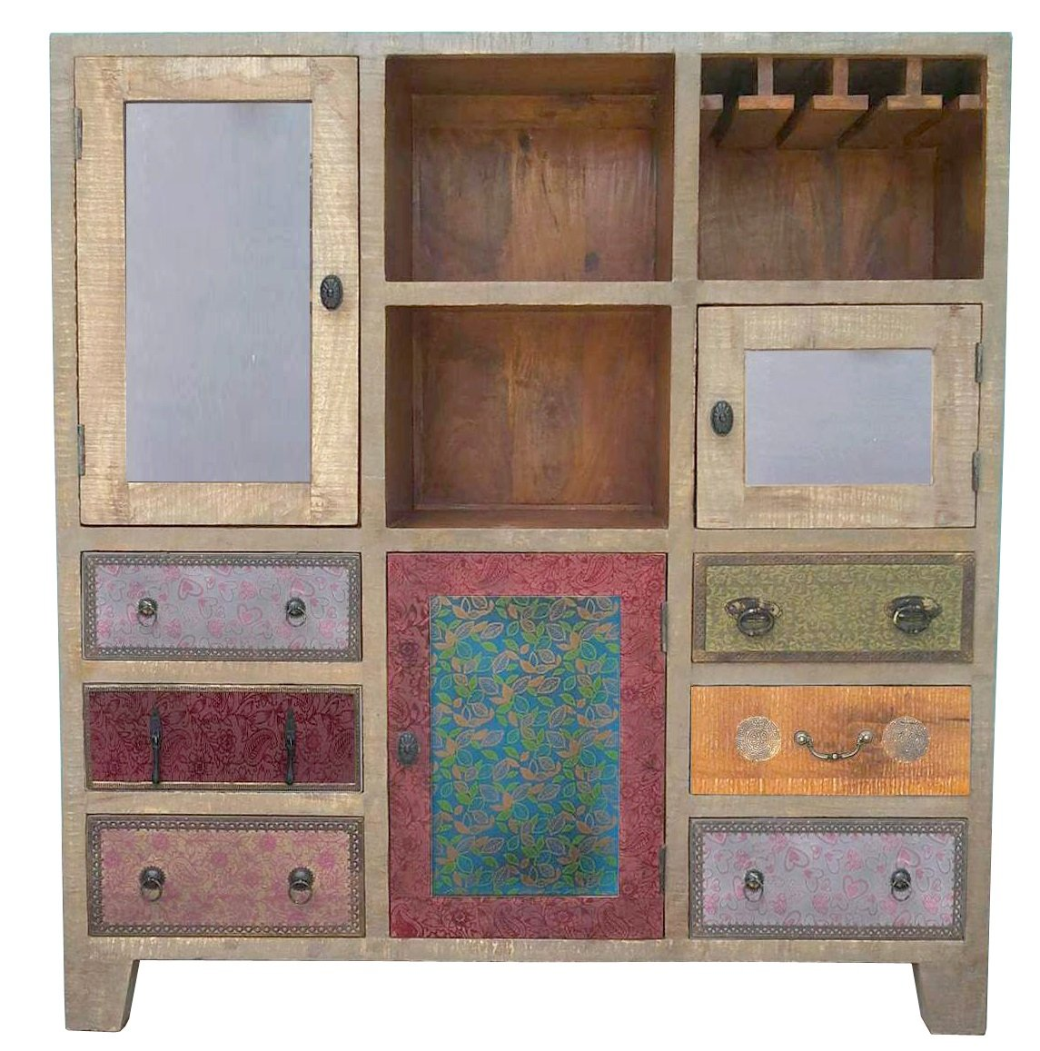 The Wood Times Kommode Highboard Schrank Massiv Vintage Look Dhaka Mangoholz, BxHxT 120x135x40 cm