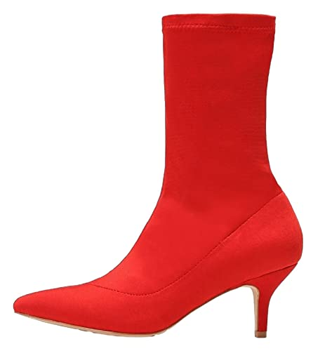 224-1 Elastic Stretchy Sock Ankle High Boots Kitten Heel Pointed Toe Red