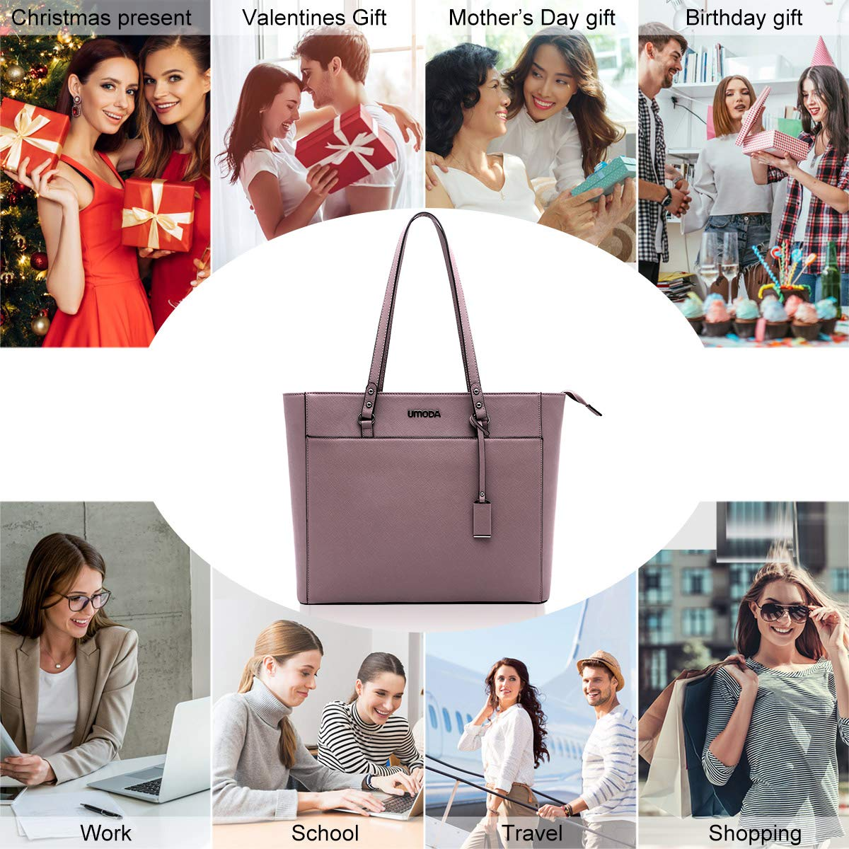 Laptop Bag for Woman,13-15.6 Inch Laptop Tote Bag Briefcase with Padded Compartment, Best [Purple] by UMODA (Image #6)