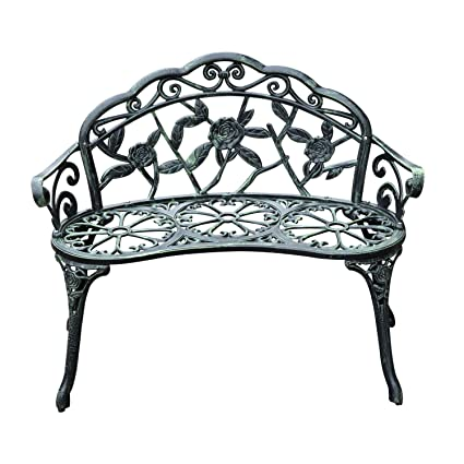 40u0026quot; Antique Green Patio Cast Iron Garden Bench Rose Chair W/Curved Back