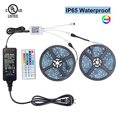 WenTop Led Light Strip Waterproof Kit DC12V UL Listed Power Supply SMD 5050 32.8 Ft (10M) 300leds RGB Flexible Light Strip 30leds/m with 44 Key Ir Controller Kitchen Cabinet, Bedroom,Sitting Room