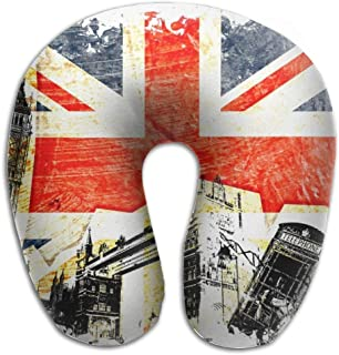 Gxdchfj London Bilding UK Flag Memory Foam U-Shaped Pillow,Unique Travel Rest Pillow for Neck Pain,Breathable Soft Comfortable Adjustable