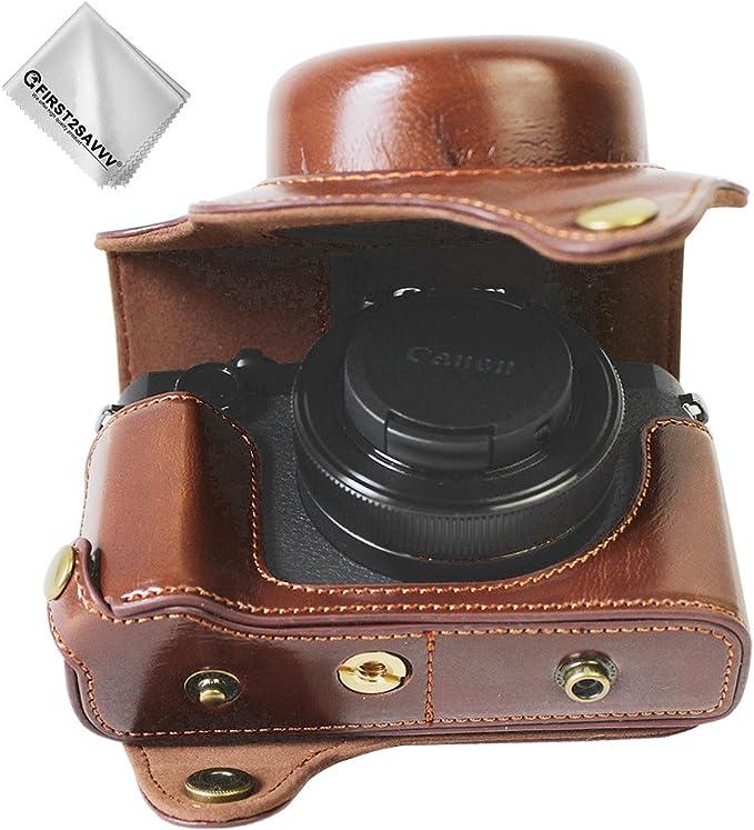 First2savvv Dunkelbraun Premium Qualität Ganzkörper Präzise Passform Pu Leder Kameratasche Fall Tasche Cover Für Canon Powershot
