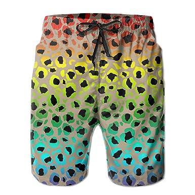 Leopard Print Mens Summer Casual Swimming Shorts Beach Board Shorts