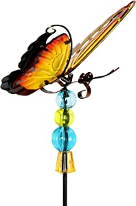 """Exhart WindyWing Red Butterfly Metal Garden Stake with Fluttering Glass Wings & Acrylic Beads - Butterfly Metal Stake in Glass & Metal- Cute Butterfly Decorations for the Garden, Yard & Patio, 6 x 30"""""""