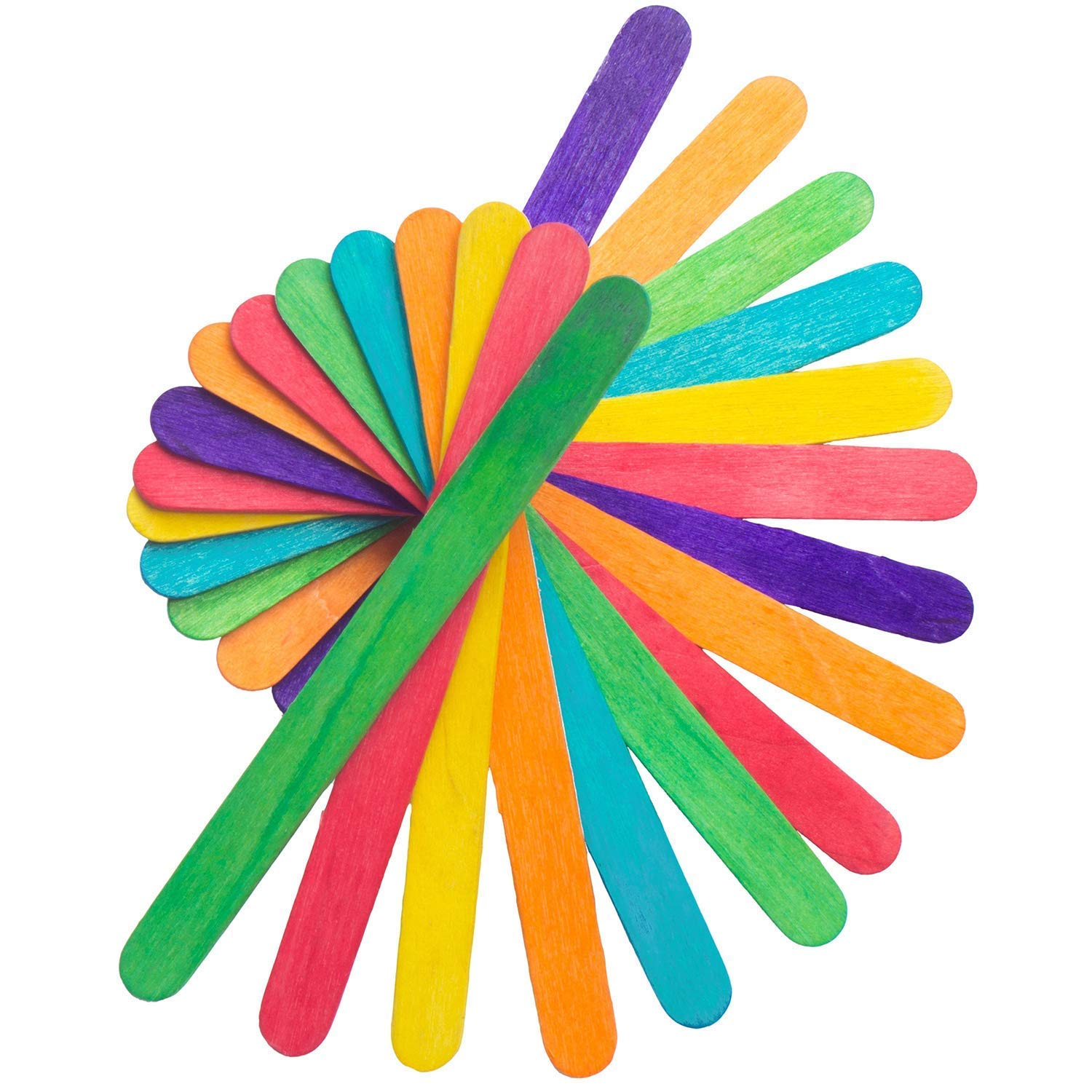 Rewiss Jumbo Colored Craft Sticks Wood Craft Sticks Great for DIY Crafts Creative Design and Children Art Group Activities Projects 500 Pieces 6 Inch