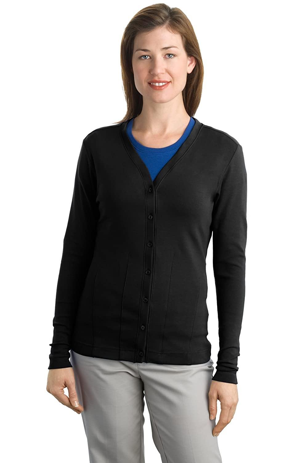 Port Authority Women's Stretch Cotton Cardigan at Amazon Women's ...
