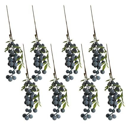 MonkeyJack 8 Pieces Artificial Lifelike Plant Fruit Berries Branches Stem  Wedding Venue Bouquet Decor Crafts Blueberry