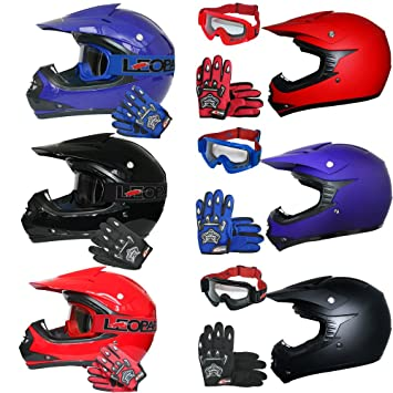 Leopard Leo X15 Youth Kids Children Motocross Helmet Gloves Goggles Junior Dirt Bike Off Road Crash Helmet