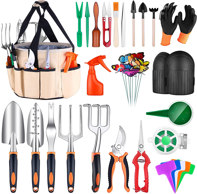 Garden Tools Set, 52Pcs Gardening Succulent Tools Kit Heavy Duty Aluminum Gardening Hand Tools Garden Tool Includes Knee Pads Water Bag Garden Shovel Gloves Gardening Supplies Gifts for Women Men
