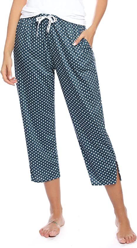 Hawiton Pantalones de Pijama para Mujer Capri Pantalon de Dormir ...