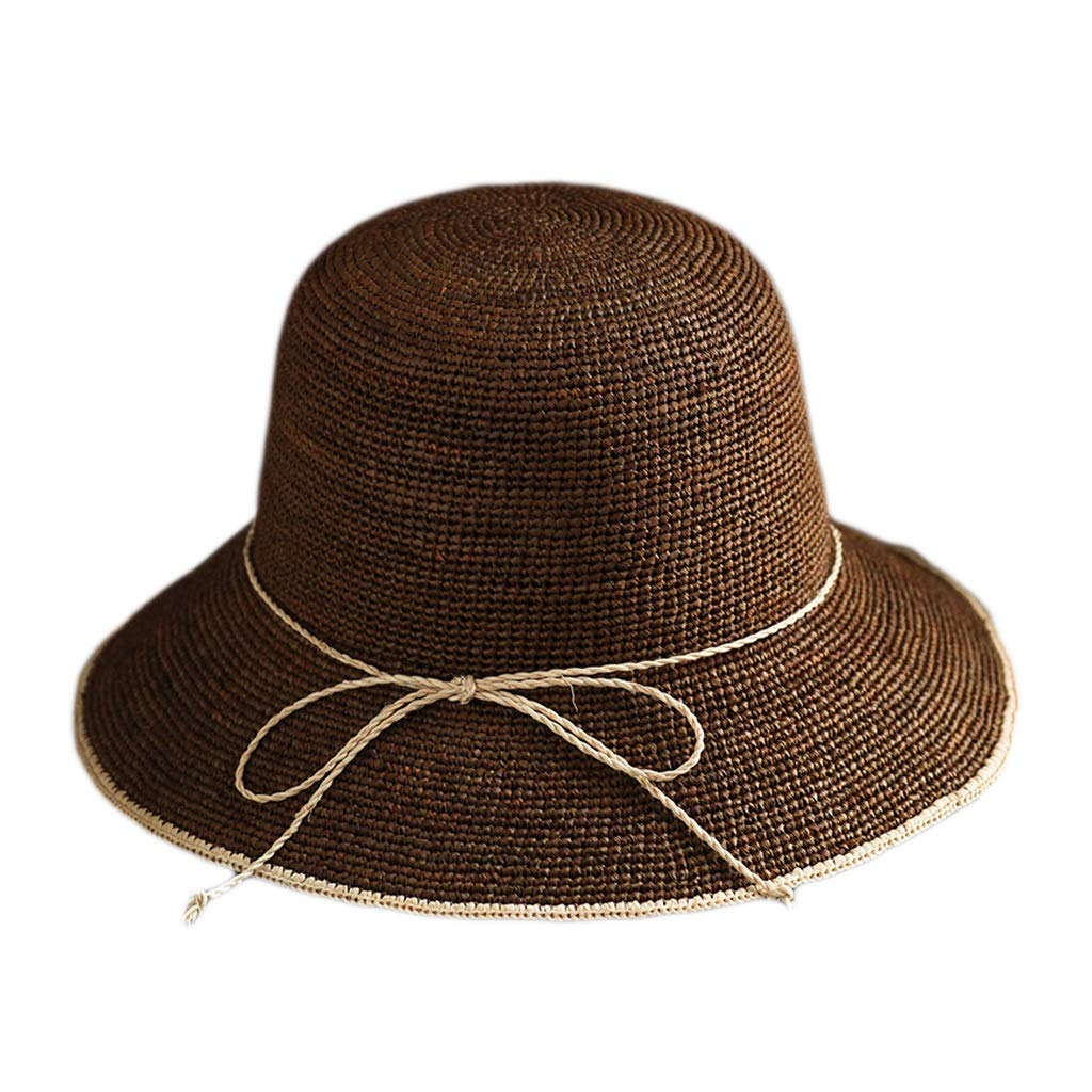 Beige Lafite Grass Hat, Summer Folding Basin Hat Retro Leisure Visor Summer Bow Visor Adjustable 2 colors (color   Brown)