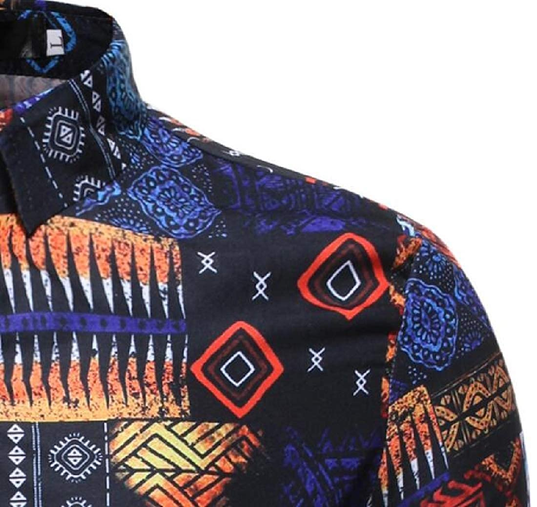 Fubotevic Men Casual Shirts Printed Button Down Slim Fit Long Sleeve Shirts
