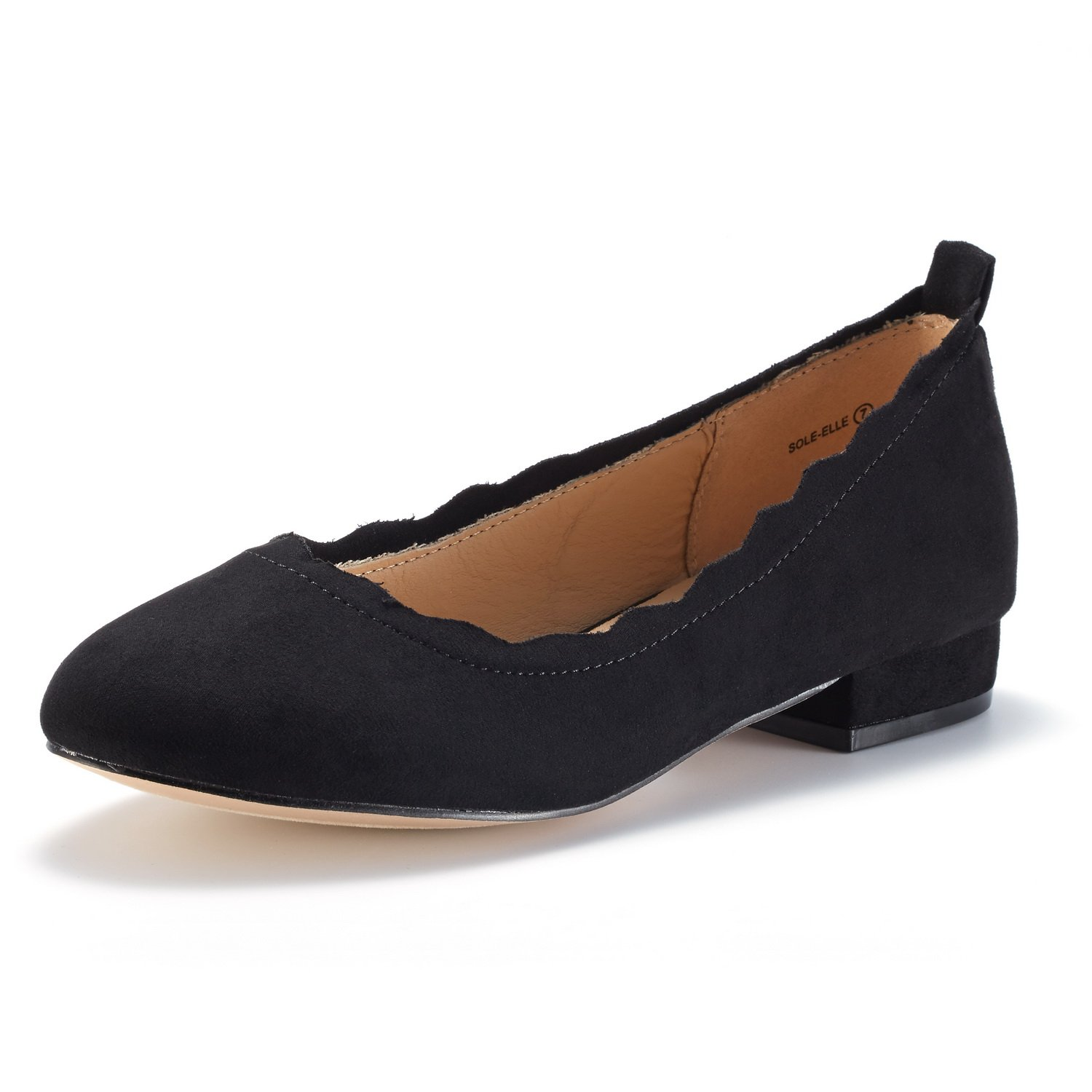 DREAM PAIRS Women's Sole_Elle Black Fashion Low Stacked Slip On Flats Shoes Size 9 M US