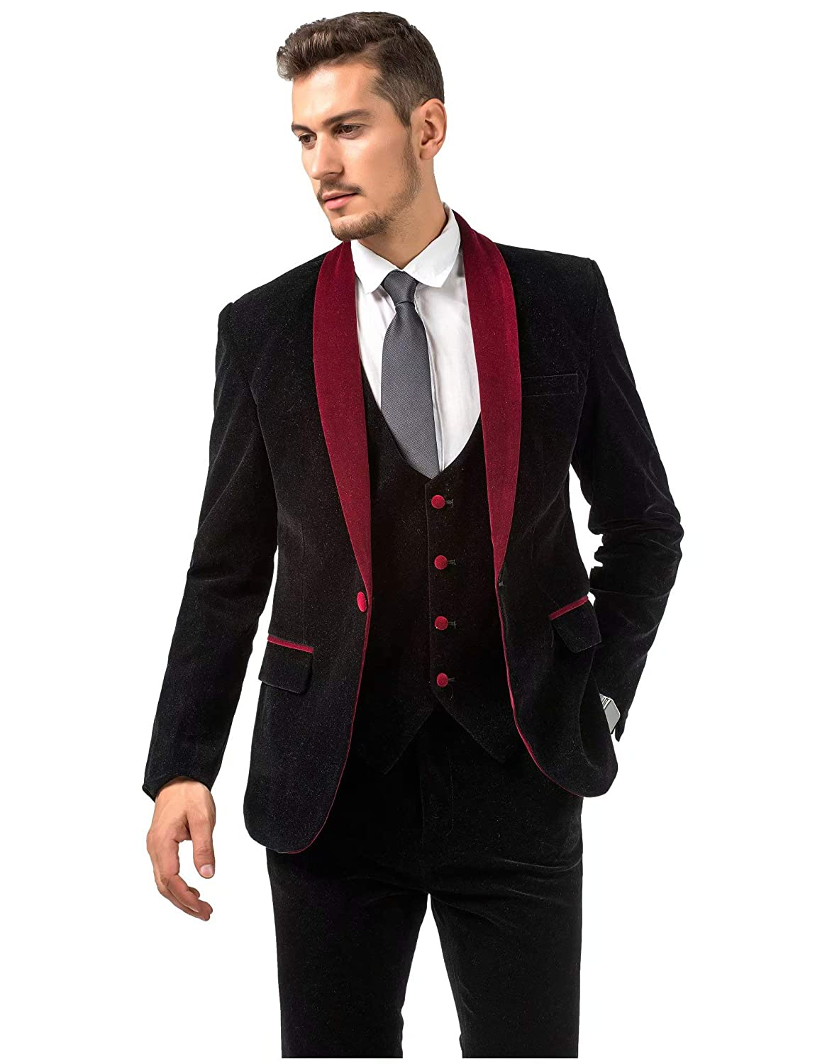 950fcc85b1be6 Jingmo Burgundy Royal Blue Black Velvet 3 Piece Suits for Men ...