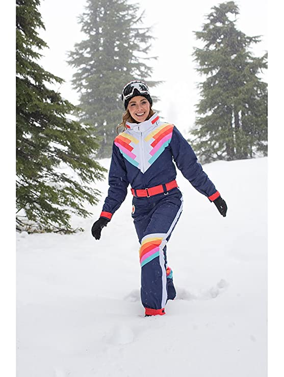 Amazon.com  Tipsy Elves Women s Santa Fe Shredder Retro Ski Suit - 80 s  Style Neon Rainbow Snow Suit Female  Clothing 5ba2c7a30